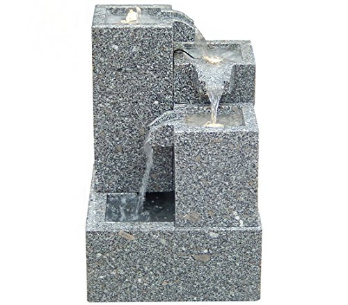 Dehner Gartenbrunnen Cascada mit LED Beleuchtung, ca. 65 x 43 x 43 cm, Granit, grau