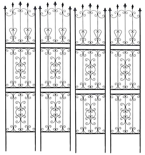 ガーデンガーデン お庭をエレガントに彩る IBフェンス ローズスリム ハイタイプ 幅48×高さ219cm 4枚セット ブラック アイアントレリス IBF-RSSLIM220-4P