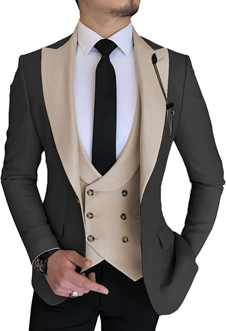 Aesido Men's Suits Regular Fit 3 Pieces Double Breasted Prom Tuxedos Business Blazer+Vest+Pants Wedding Grooms