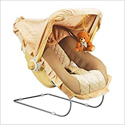 ZOSHOMI Steel Art 12-in-1 Carry Bouncer Cot with Music for Baby (Brown)-Made in India (with 7 Years Warranty),ORRIL