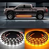 2PCs 70 inch Truck LED Running Board Lights Sequential Amber Side Marker Lights Emergency ...