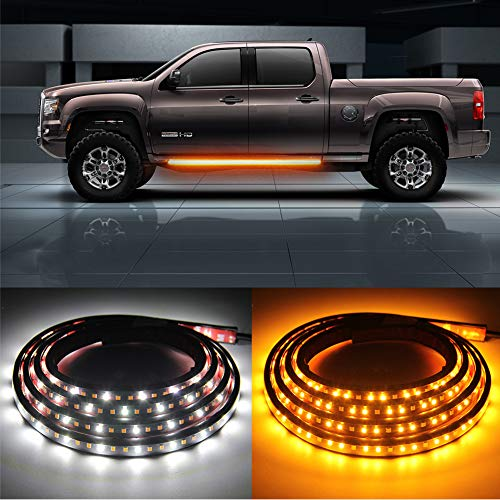 2PCs 70 inch Truck LED Running Board Lights Sequential Amber Side Marker Lights Emergency Extended Crew Cab 216 LEDs Waterproof Flexible Turn Signal Light Bar Strips for Pickup Trucks Cars (70 inch)