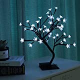 lewondr albero bonsai, bonsai in fiore di ciliegio in ferro con 48 luci led, 3 batterie albero decorazione camera, tavolo,scrivania, soggiorno - luce bianco