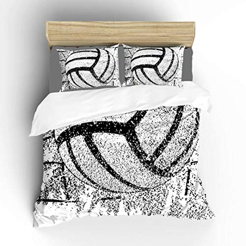 Aluy's boutique Volleyball and Net Closeup with Sandand Ultra Soft Bedding Sets Duvet Cover Set, Twin Size 2 Pieces with 1 Duvet Cover and 1 Pillowcase, Best Gift for Kids, Boys, Girls