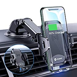 VICSEED 3-in-1 Wireless Car Charger Mount Qi Fast Charging 10W and 7.5W Dashboard