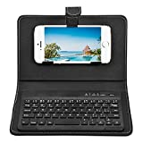 Howardee Portable PU Leather Keyboard Cover Case Phone Wireless Bluetooth Keyboard for iPhone Android (Black)