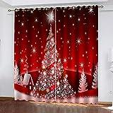 Cortinas Opacas 3D Impresión 90% Opacas protección UV Lavable en la Lavadora Ideal para habitación Oficina y salón 2 Piezas 117x183cm árbol de Navidad