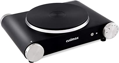 Cusimax Electric Hot Plate for Cooking Portable Single Burner 1500W Cast Iron hot plates Heat-up in Seconds Adjustable Temperature Control Stainless Steel Non-Slip Rubber Feet Upgraded Version B101