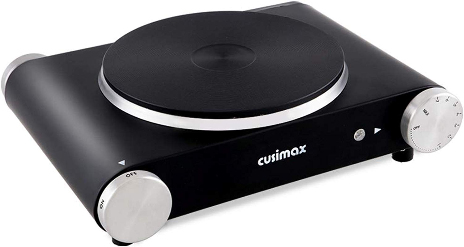 Cusimax Electric Hot Plate For Cooking Portable Single Burner 1500W Cast Iron Hot Plates Heat Up In Seconds Adjustable Temperature Control Stainless Steel Non Slip Rubber Feet Upgraded Version B101