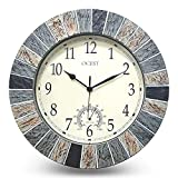 Ocest 13 Inch Large Outdoor Indoor Clock, Waterproof Wall Clock with Thermometer, Weather-Resistant Non-Ticking Battery Operated Decor Clock for Patio, Pool, Lanai, Fence, Porch, Garden,Bathroom