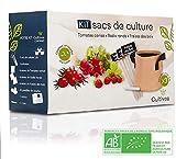 Cultivea – Kit de sacs de culture – Prêt à Pousser – Graines Françaises 100% Écologiques et Bio – Jardin potager – Fruits et Légumes (Tomate, Fraise et Radis) - Idée Cadeau