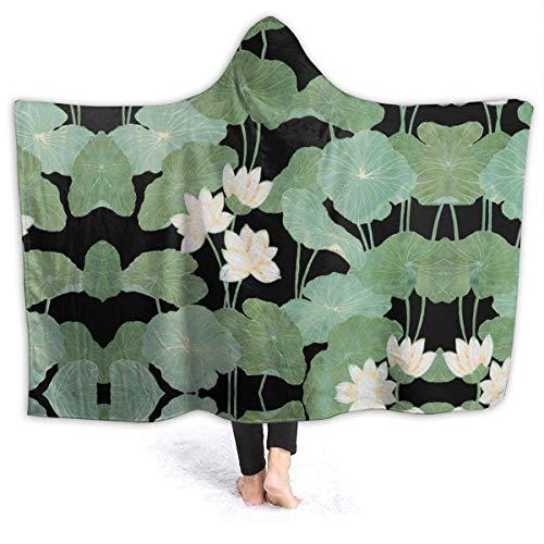 """XXWK Kuscheldecken Überwürfe Decken Hooded Blankets Black Lily Pads Printed Super Soft Sherpal Plush Wearable Throw Blanket Black 60\""""x50\"""" Inch Lightweight"""