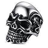 PAURO Hommes 316l Acier Inoxydable En Titane Ghosts Skull Head Ring Pour Punk Biker...