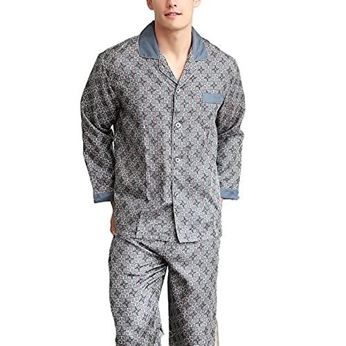 JYCDD Primavera y Otoño Nuevo Hombre Homewear Atmósfera Simple Contraste de Color Puños de Seda de los Hombres de Manga Larga Conjunto de Pijama,Gris,XXL