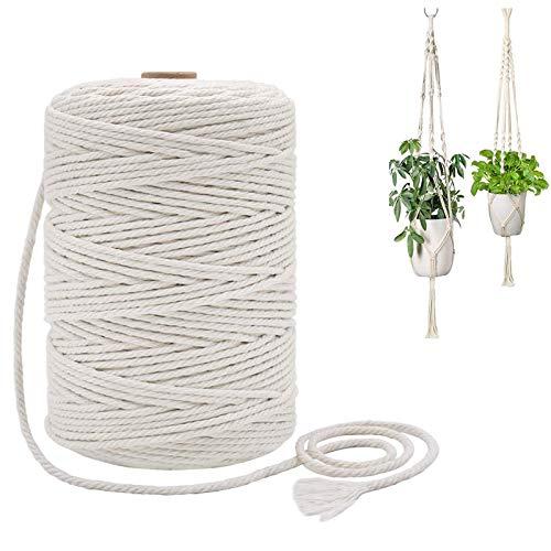 Fulfun Macrame Cord 3mm x 853 ft, Cotton Twine String, Macrame Cotton Rope for Hanging Planter Basket,Crafts, Knitting,Flower Pot Holder Boho Home Decor Gift Box