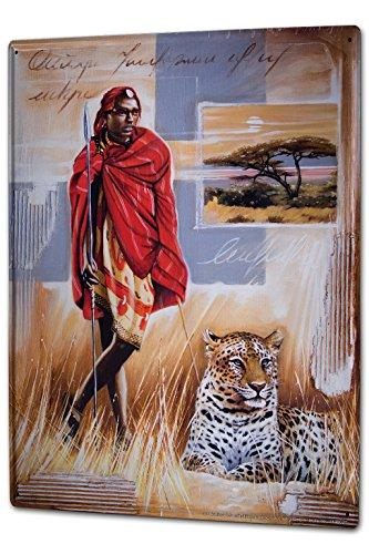 LEotiE SINCE 2004 Blechschild Wandschild 30x40 cm Vintage Retro Metallschild Urlaub Reisebüro Warminski Afrika Massai Löwe