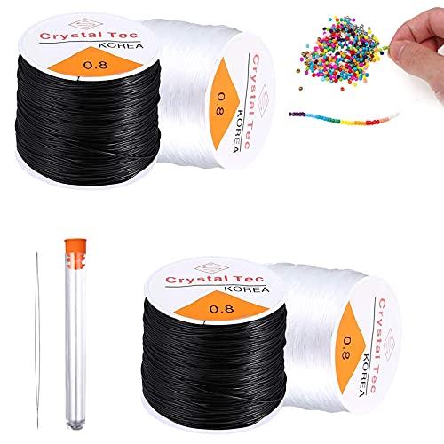 400m Cuerda de Cristal Elástica Ø 0.8mm Cuerda de Cristal para Pulseras con Agujas de Ojo Grande de Bordado Hilo de Abalorios para Pulseras, Manualidades Caseras (Negro y Transparente)