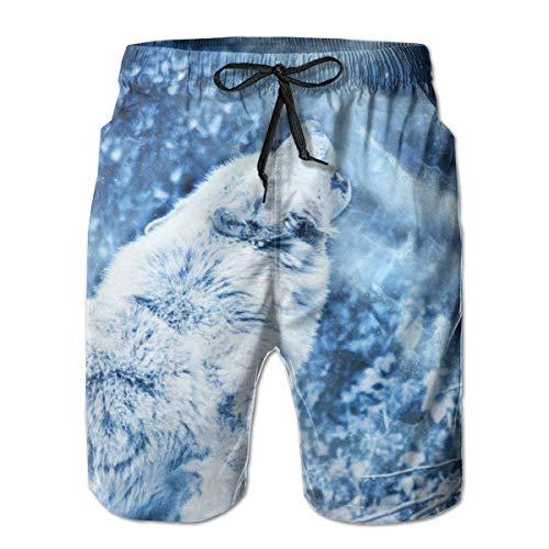 Bañador para Hombre Fierce Wolf Animal en The Snow Surfing Beach Board Shorts Traje de baño, Talla XL