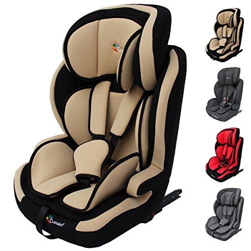 Clamaro 'Guardian Isofix' Kinderautositz 9-36 kg ISOFIX mitwachsend, Autokindersitz für Kinder ab 1-12 Jahre (Gruppe 1I,II,III), Isofix und TOP TETHER, ECE R44/04 Zulassung - Beige Schwarz