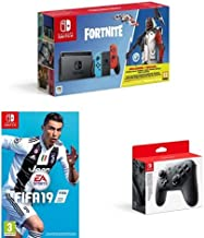 Nintendo Switch Neon Red/Blue Fortnite edition with Fifa 19 (cartridge) and pro-controller [Importación inglesa]