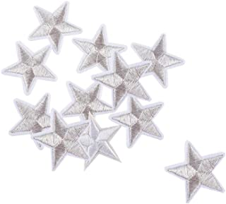 20Pcs Gray Star Patches Iron on/Sew on Patches Embroidered Motif Badge Applique Patch for Clothing Jeans T-Shirt
