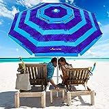 MOVTOTOP Beach Umbrella, 6.5ft Patio Umbrella with Tilt Mechanism, Portable UV 50+ Protection Beach Umbrella with Carry Bag for Outdoor Patio (Dark Blue Stripe)