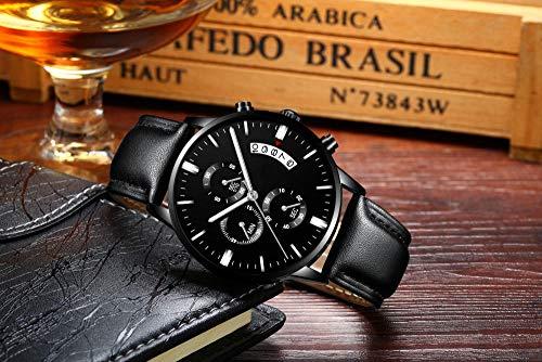 Eantpure Cuarzo simulado Relojes, Impermeable, Reloj de Hombre,de Cuarzo, Reloj con cinturón, Moda, Casual, Reloj con Correa de Malla-H,Analogicos Fecha de Pulsera.