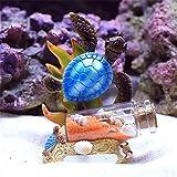 zyl Esculturas Estatuas Pecera Decoración de Coral Simulación Estrella de mar Tortuga pequeña Caballito de mar Botella de Deriva Escultura Acuario Recuerdo Regalo para niños