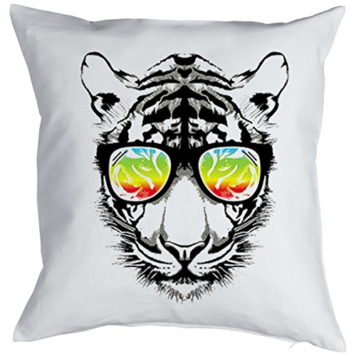 Rétro Tiger Cat Chats Gatti Gatos Coussin, Pop Art Style