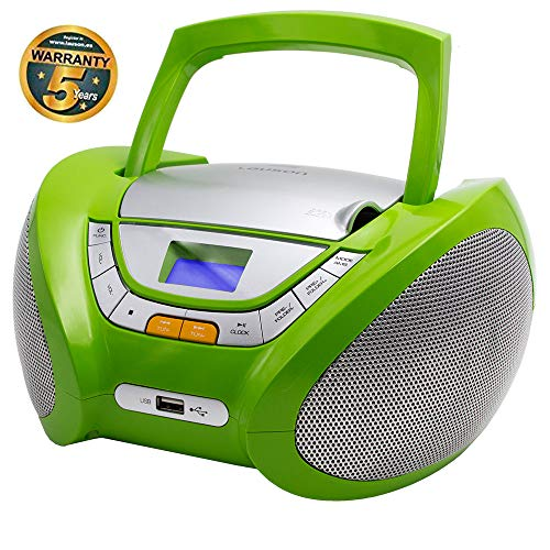 LAUSON CP444 CD-Speler met USB | Boombox Stereosysteem CD-Radio Draagbaare | Kinderradio met CD en MP3-Speler USB Port | Radio CD-Speler met Hoofdtelefoonaansluiting en Geïntegreerde Speakers (Groen)