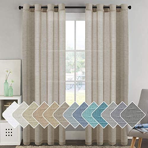 Ultra Elegant Natural Linen Curtains Soft Linen Sheer Curtains for Living Room / Country Style Home Decor Window Privacy Translucent Linen Textured Drapes for Bedroom (52 by 96 Inch, Set of 2, Taupe)