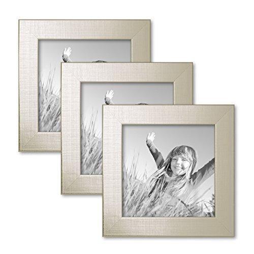 Set de 3 Cadres Photo 15x15 cm argenté Moderne Bois Massif avec vitre et Accessoires/Cadre Photo