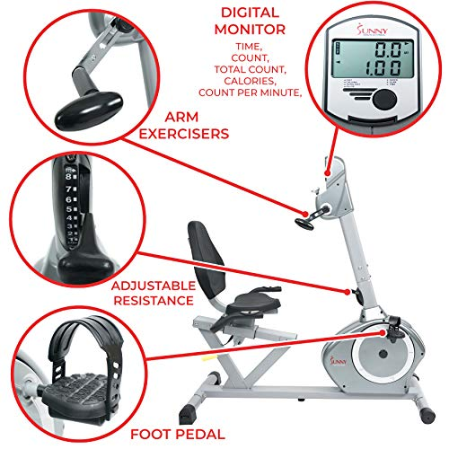 Sunny Health & Fitness Recumbent Bike SF-RB4631 with Arm Exerciser, 350lb