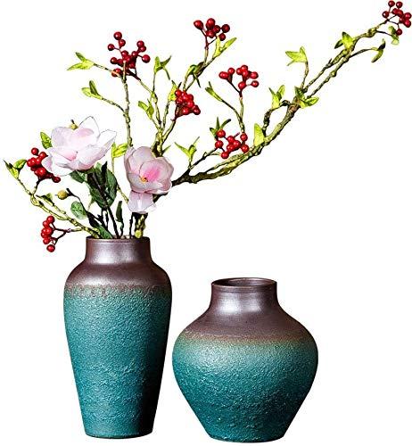 Pflanze dekorativen Blumentopf Handgefertigte Steinzeug getrocknete Blumen hydroponische Vase Keramik retro altes Wohnzimmerdekoration Tontopf Blumenarrangement Zweiteilige Innen Vase, zweiteilige im