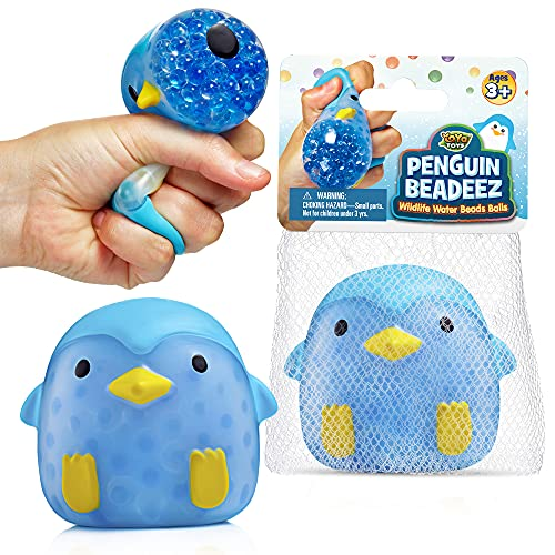 YoYa Toys Penguin Beadeez Squeeze Ball Fidget Toy   Sensory Fidget Stretch Ball for Anxiety, Stress, Anger Management, Hand Strength, Occupational Therapy   Colorful Stress Ball for Kids & Adults
