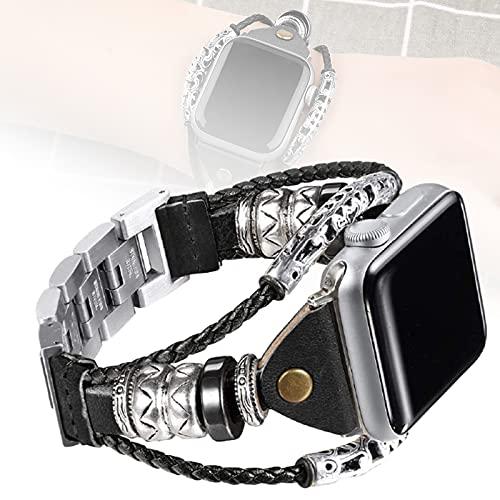 Correa De Cuero Compatible con Apple Watch 38 Mm / 40 Mm 42 Mm / 44 Mm Reemplazo De Pulsera para Iwatch Band Serie 5 Serie 4 Serie 3 Serie 2 Serie 1,42mm/44mm