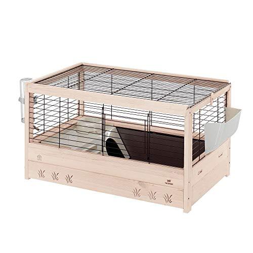 Ferplast 57089317 Holzkäfig für Meerschweinchen und Kaninchen, Maße: 82 x 52 x 45,5 cm, schwarz (M)