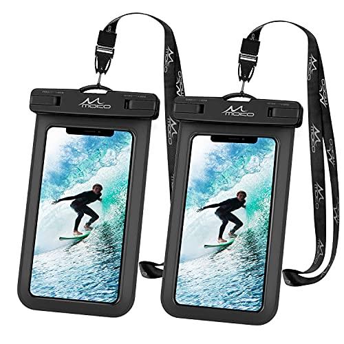 MoKo Universal Impermeable Funda para Móvil hasta 6', [2 PZS] Bolsa de Teléfono con Correa para iPhone 12,12 Mini,12 Pro,11,11 Pro,11 Pro MAX,Pixel 4,Pixel 4 XL,Samsung S21 - Negro + Negro