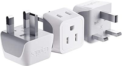 Best UK, Hong Kong, Ireland Travel Adapter Plug by Ceptics - Usa Input - Type G - Safe Grounded Perfect for Cell Phones, Laptops, Camera (3 Pack) - Dual Inputs - Ultra Compact - Light Weight (CT-7) Review