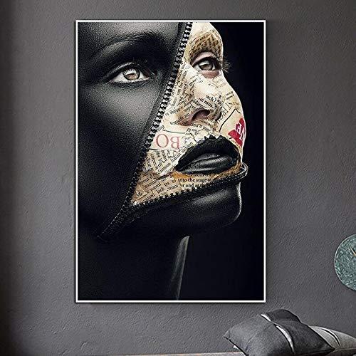 wZUN Cubierta de periódico Cara Cartel de Arte Creativo Modelo Sexy Lienzo Pintura en la Pared Arte Maquillaje Imagen decoración de Pared 60x90 Sin Marco