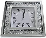 Sassy Home CD014 Mirrored Floating Crystal Diamante Square Wall Clock, one Colour, 50 x 50 x 5 cm