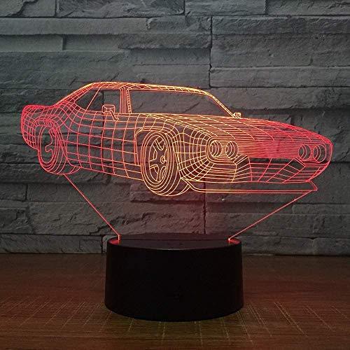 Super Coche Lámpara de Mesa de 7 Colores de Reemplazo de la Lámpara de Mesa 3D de la Novedad Led Luz de Noche con Lámpara Plana Niños Regalo Decoración
