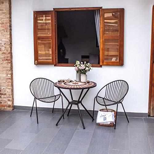 Tuinmeubelen - Ronde stalen en mozaïek keramische tuintafel - Ø 80 cm