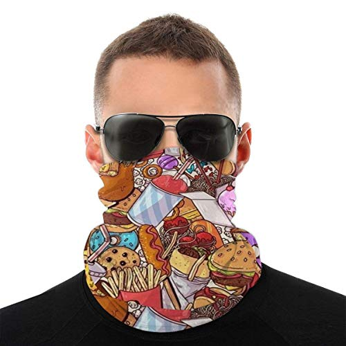 N / A Tough Headwear,Tube Scarf,Funny Food Doodles Outdoor Sports Neck Warmer Headband Bandana Balaclava
