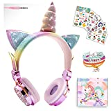Girls Pink Unicorn Wired Headphones,Cute Cat Ear Kids Game Headset for Boys Teens Tablet Laptop PC,Over Ear Children Headset withMic,for School Birthday Xmas Gifts