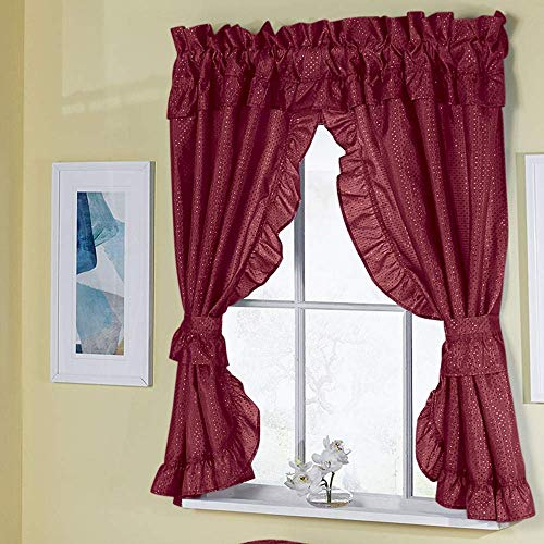 Madison Starlite Deluxe Swag Shower Ruby Bathroom Window Curtain