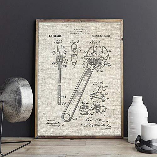 Llave inglesa Llave ajustable Patente Arte de la pared Carteles de garaje Mecánico Hombre Cueva Decoración Vintage Blueprint Lienzo Pintura Regalo B 16x20 pulgadas (40x50cm)