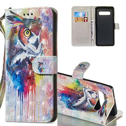 HMTECH Galaxy S10 Lite Coque 3D Luxu Cute Coloré Owl Slim Housse Étui PU Cuir Housse Coquille Couverture Magnétique Stand Compatible with Samsung Galaxy S10e,KT Colorful Owl