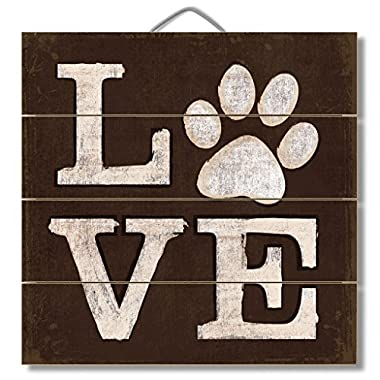 LOVE (pawprint) 12  x 12  Wood Sign