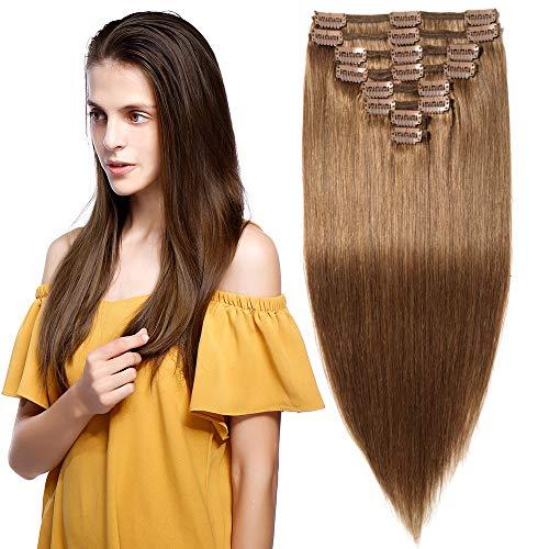 Clip in Extensions Echthaar Remy Haarverlängerung für komplette Haare 8 Tressen Doppelt Dicke 40cm-130g(#6 Mittelbraun)